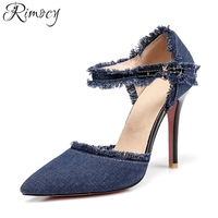 Rimocy más el tamaño 31-47 azul denim bombas de las mujeres 2018 de la marca diseño de la correa del tobillo de la vendimia de la franja de la mujer delgada tacones altos zapatos