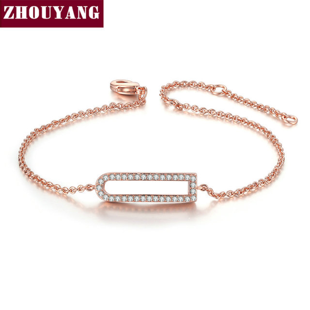 ZHOUYANG Bracelet For Women Simple Geometric Hollow Cubic Zirconia Rose Gold Silver Color Party Gift Fashion Jewelry H204 H212