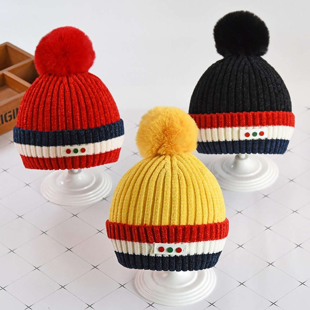 7be4c65f291 Cute Baby Hat Winter Newborn Infant Kids Baby Girl Boy Hairy Ball Keep Warm  Winter Fur Ball Knitted Wool Hemming Hat L925-in Hats   Caps from Mother    Kids ...