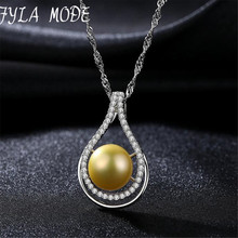 Brand Luxury White/Golden Color Natural Pearl Pendant Necklace S925 Silver Wave Chain Women Necklace Sterling Silver Jewelry 016