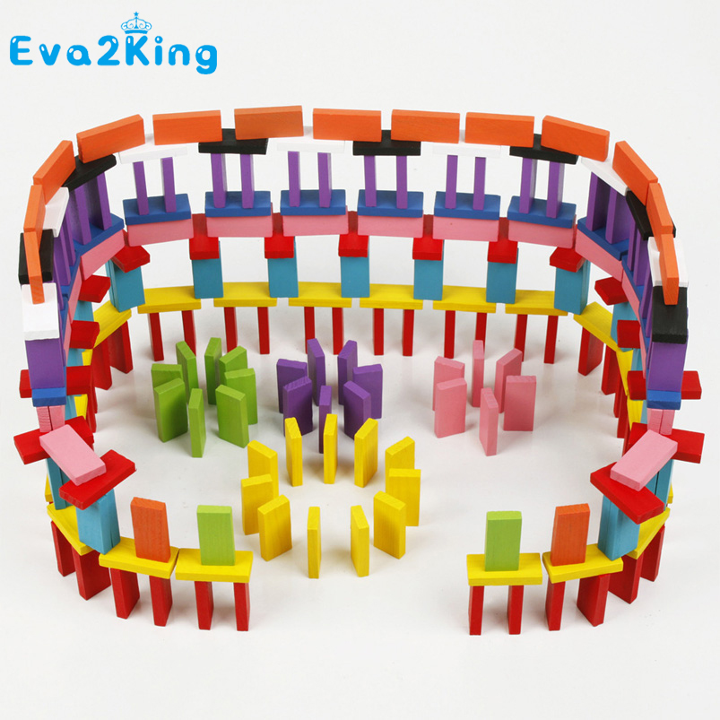 Eva2king 120/240pcs Wooden Colored Domino Blocks Model Building Kits Early Bright Dominoes Games Educational Toys For Children 120pcs set rainbow wood domino blocks children color sort kits early bright dominoes games educational toys for children gift
