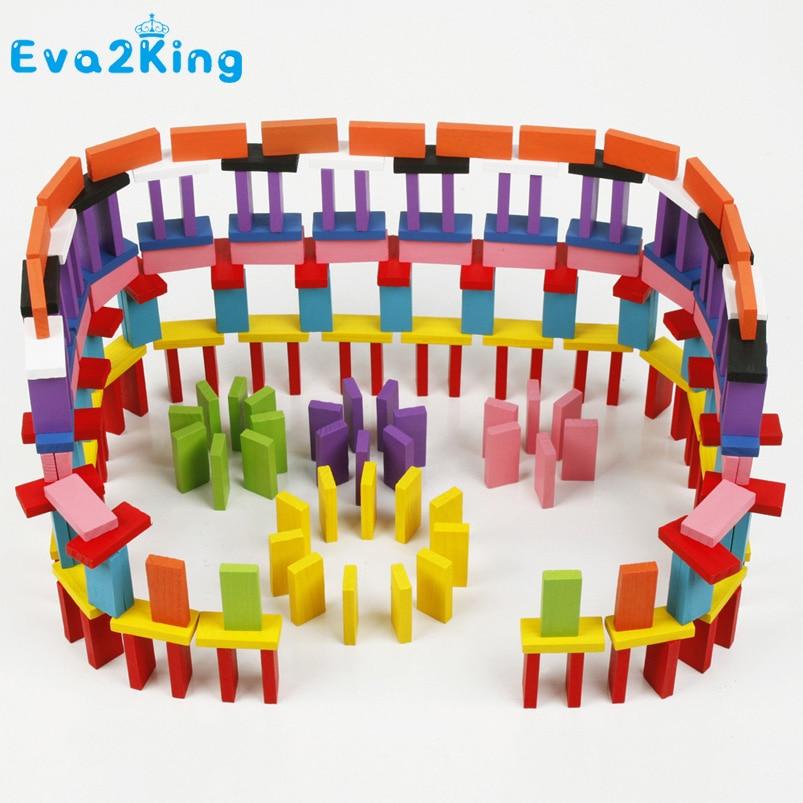 лучшая цена Eva2king 120/240pcs Wooden Colored Domino Blocks Model Building Kits Early Bright Dominoes Games Educational Toys For Children