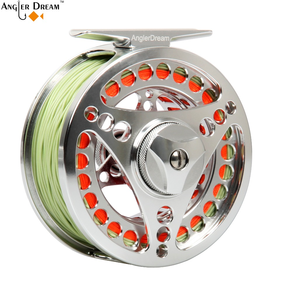 3/4 5/6 7/8 9/10WT Fly Reel Combo CNC Machined Aluminum Fly Reel Silver Large Arbor Fly Fishing Reel Fly Line Backing Leader