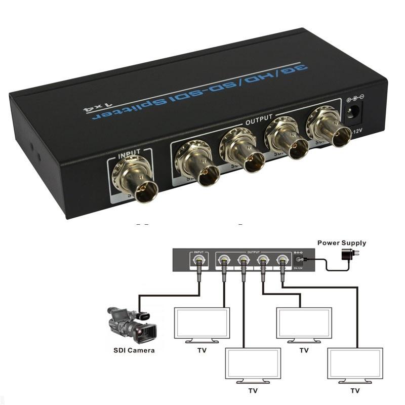 4-port SDI Splitter amplifier SDI, HD-SDI ,3G-SDI 1X4 Splitter distributor 1080p with power adapter for TVs cameras hightek hk s1t4 4 ports sdi splitter 1x4 hd sdi 3g sdi sd sdi distribution splitter