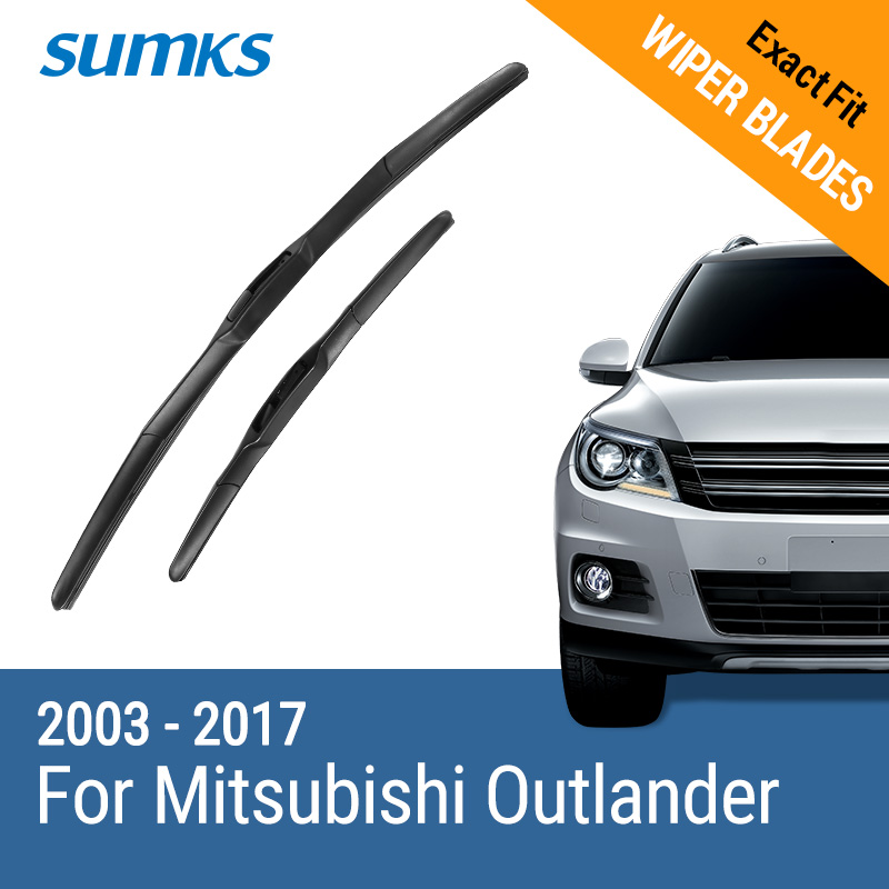 SUMKS Wiper Blades for Mitsubishi Outlander 22& 19 / 24& 21/ 26& 18 Fit hook Arms 2003 to 2017