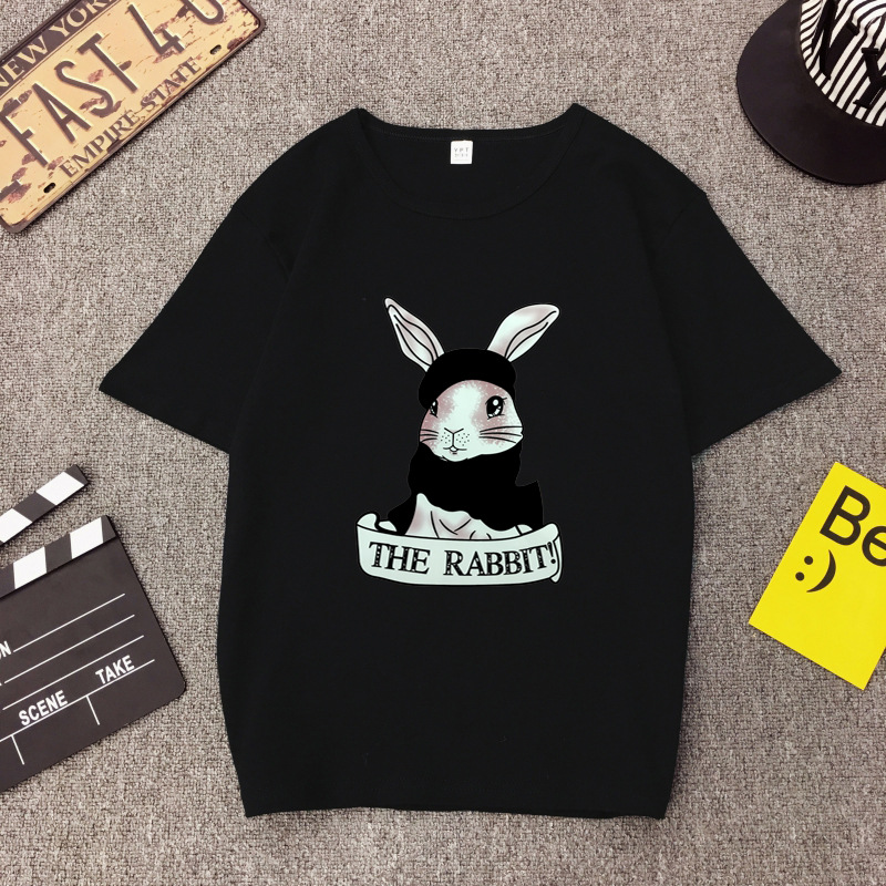 Cute Rabbit Print Women Tshirt High Quality Short Sleeve Round Neck Cotton Spandex Women Tops Casual Loose Women T-shirt 3