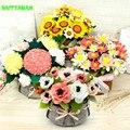 Diy não-tecido girassol buquê de flores em vaso sala de estar decoração artesanal material de pano mais de 14 anos de idade para as meninas brinquedos