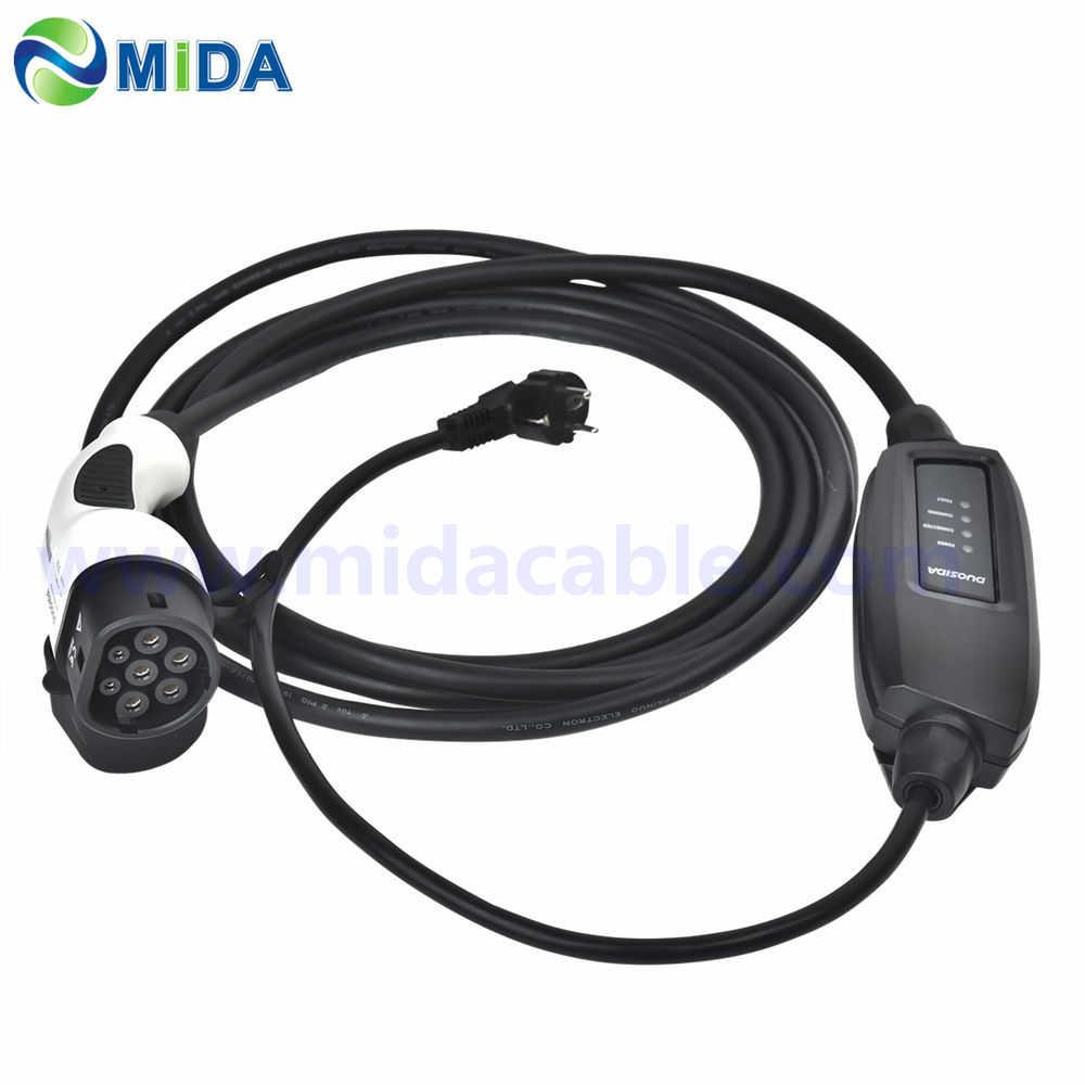 5 метров 16Amp EU Schuko штекер IEC 62169 Тип 2 Женский штекер кабель для зарядки аккумулятора с евровилкой 16A EVSE портативный тип 2 зарядное устройство для электромобиля для автомобиля