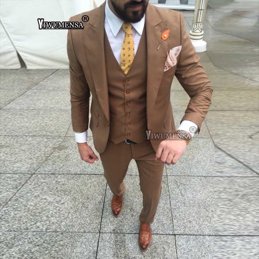 Yiwumensa dernier manteau pantalon conceptions brun costumes de mariage pour hommes Slim Fit costume hommes 2018 bal Grooman costumes fumer para hombre