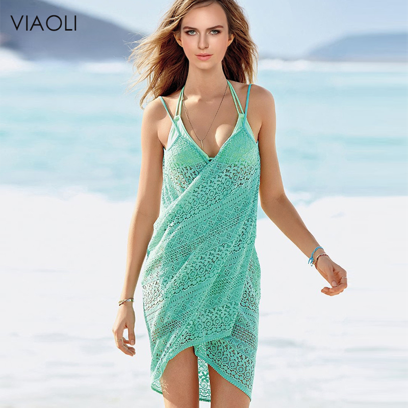 VIAOLI New Women Beach Dress Sexy Sling Beach Wear Dress Sarong Bikini Cover-ups Wrap Pareo Skirts Towel Open-Back Swimwear