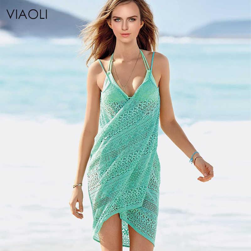 VIAOLI 새로운 여성 비치 드레스 섹시한 슬링 비치웨어 드레스 sarong 비키니 은폐 랩 Pareo 스커트 타월 오픈 백 수영복