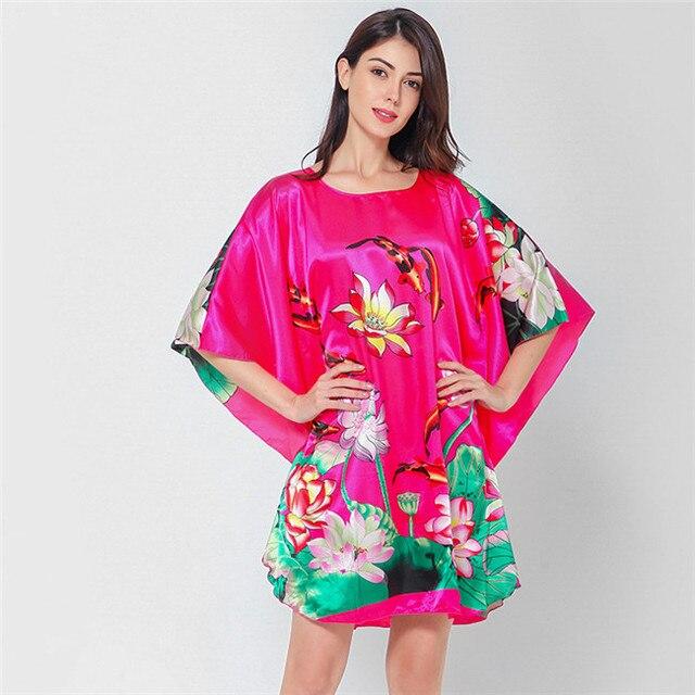 Novelty Print Black Female Satin Robe Dress Nightgown Novelty Women Kaftan Bath Gown Summer 2019 Lounge Homewear Plus Size 6XL