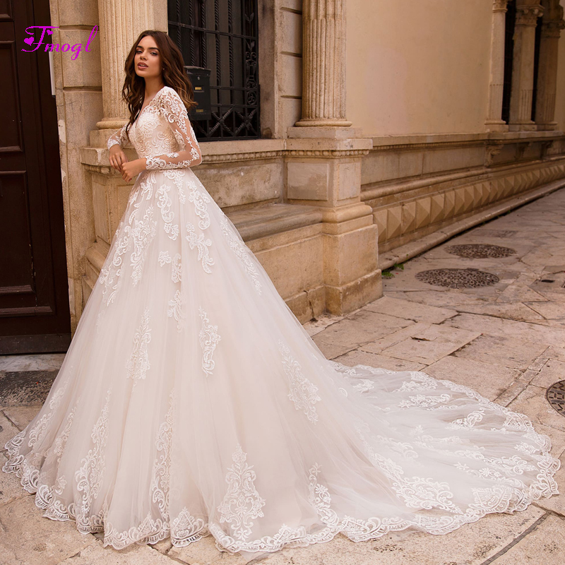 5b02a174fdd Fmogl Vestido de Noiva Appliques Long Sleeves A-Line Wedding Dresses 2019  Charming V-