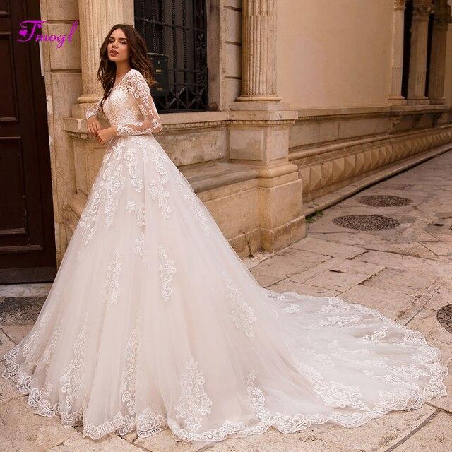 Fmogl Vestido de Noiva Appliques Long Sleeves A-Line Wedding Dresses 2019  Charming V-neck Lace Up Princess Bridal Gown Plus Size. 3 orders b4b9a60b4fc7