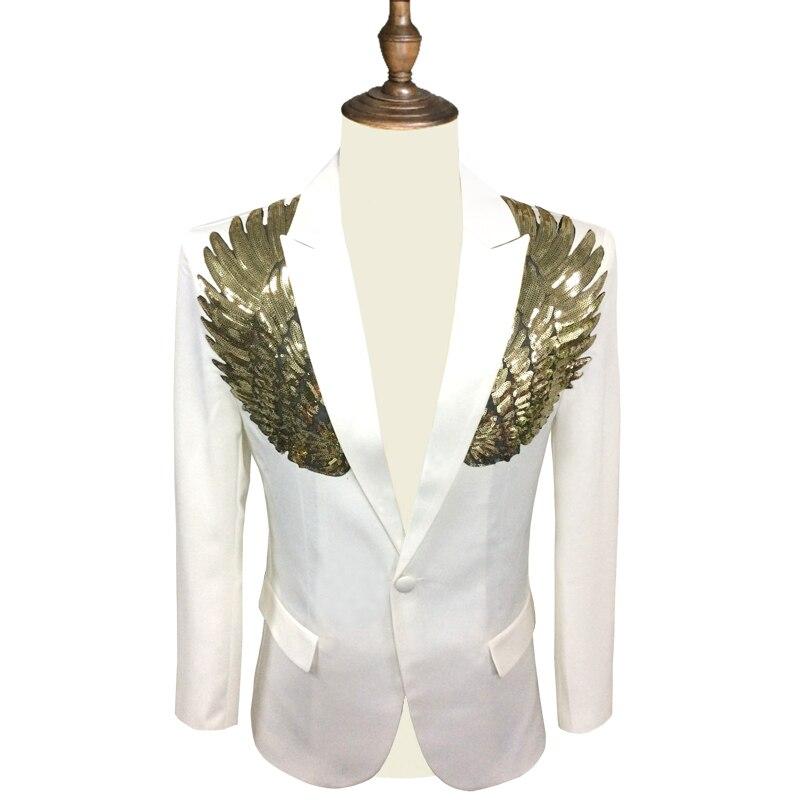 fino ajuste terno blazer de lantejoulas homme ouro prata palco dj stagewear