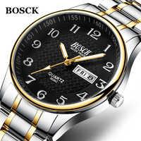 Reloj Masculino 2019 de los hombres de lujo acero Relojes de moda reloj pulsera de cuarzo impermeable fecha Hombre reloj Relojes para Hombre