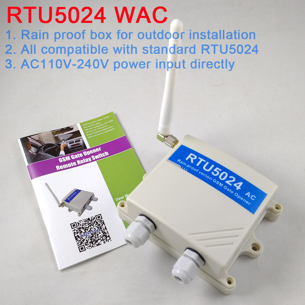 Free shipping Rain Proof ver RTU5024 GSM Gate Opener Relay Switch Remote  Access Control Wireless