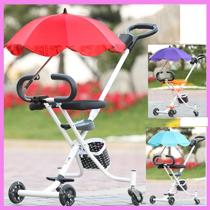 Baby Dach Portable Dreirad Kinderwagen Warenkorb Klapp Kind Kleinkind Dreirad Drei Rädern...