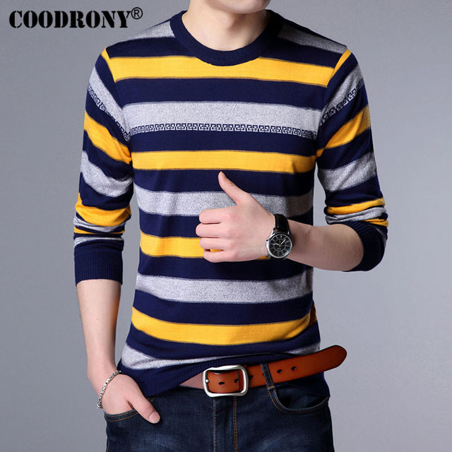 COODRONY O-neck Wool Sweater Men Brand Clothing 2017 Autumn Spring New Mens Sweaters Casual Striped Pullover Men Pull Homme 7118
