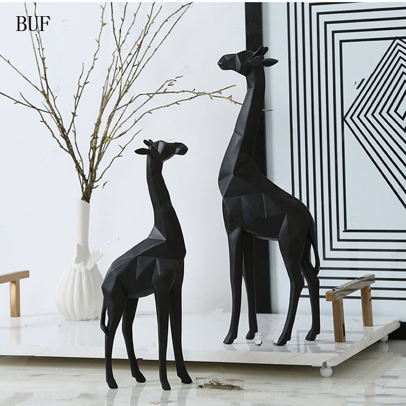 buf modern abstract giraffe statue resin ornaments home decoration accessories gift geometric. Black Bedroom Furniture Sets. Home Design Ideas