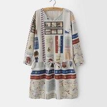 ผ้าลินินชุดผู้หญิง2016แฟชั่นใหม่เต็มร่างกายพิมพ์เอวรูปแบบDrawstring Vestido De Lino