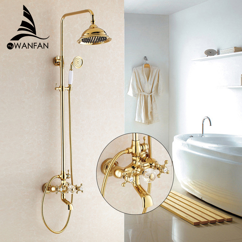 Shower Faucets Luxury Gold Bathroom Rainfall Shower Faucet Set Mixer Tap With Hand Sprayer Wall Mounted Bath Shower Head HJ-859k wholesale and retail wall mounted thermostatic valve mixer tap shower faucet 8 sprayer hand shower