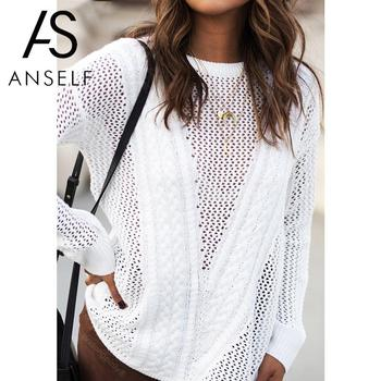Hollow Out Sweater Korean Pullover female tunics Long Sleeve Thin Loose Tops