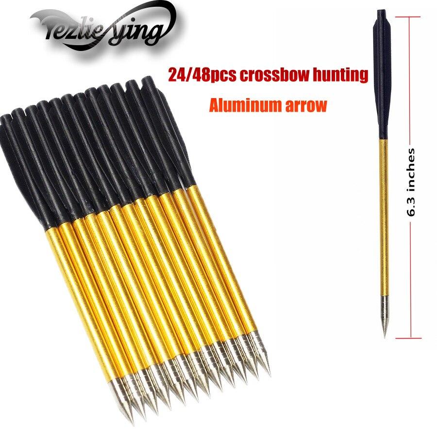 24/48 sztuk broadheady Flecha 6.2 Cal złoty aluminium łucznictwo strzałka nadaje się do 50 kg/80 funtów krzyż łuk polowanie strzałka łucznictwo