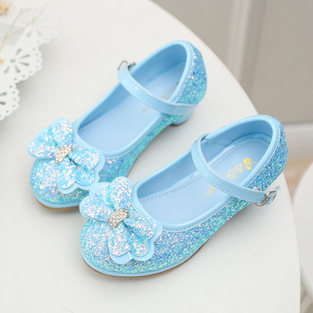 Girl High Heel Princess Single Spring And Autumn New Sequin Bow Dress Crystal Performance Children's Perform Shoes Eur 26-34 #2