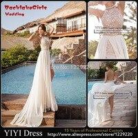 2015 Newest Sexy High Neck Backless Lace Chiffon Casual Beach Wedding Dress Bridal Gown Vestido De