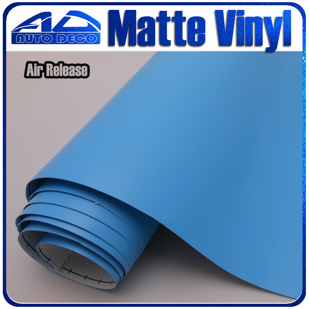 Sky Blue Matte Vinyl car wrap film with air bubble FedEx Free Shipping size:1.52*30m/roll light purple matte vinyl car wrap film for car decoration sticker with air bubble free fedex free shipping
