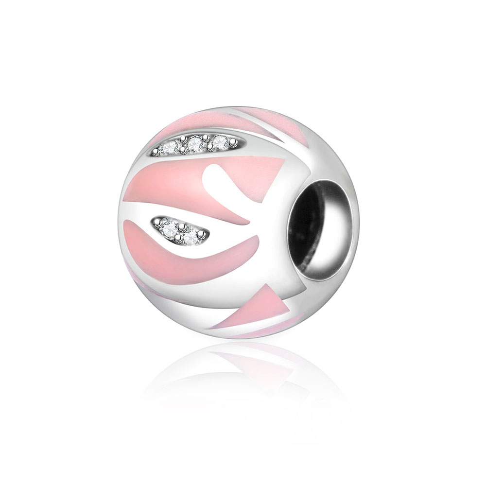 2018 Autumn 925 Sterling Silver Charms Fit Original Pandora Charms Bracelet Bead With Pink Enamel And Clear Zircon DIY Berloque
