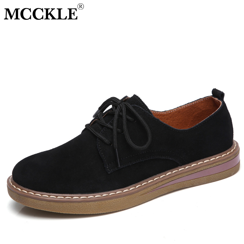 MCCKLE Genuine   Leather   Women Flat Shoes Lace up Autumn Sneakers Oxford Shoes Female Moccasins Casual   Suede   Sewing Flats