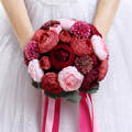 20 Pcs Peony 2016 Artifical Wine Red Wedding Bouquets High Quality bridal silk bouquets For Bridesmaid brooch bouquet Holding