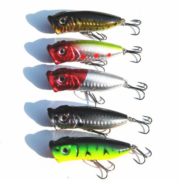 5Pcs Topwater Popper Fishing Lures 3D Eyes Minnow Fishing Lures Hard Hook Bait Crankbait Tackle Fishing Accessories 3pcs lot fishing lures mixed set minnow crankbaits topwater popper hook lure spinner baits crankbait bass wobbler tackle hook