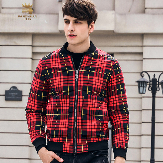 Free Shipping fanzhuan New 2018 winter new men's MALE personality warm Plaid printed baseball collar cotton jacket coat 820088