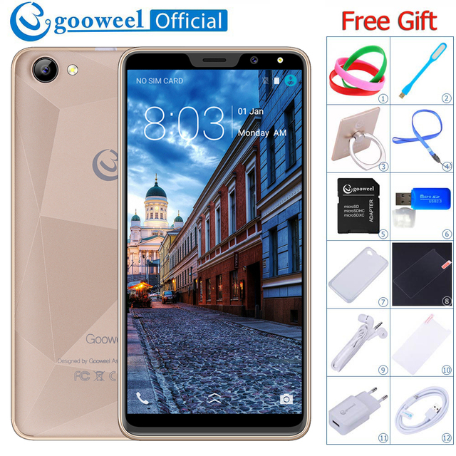 Face ID Gooweel M5 Plus 18:9 IPS Screen Smartphone MTK6580 Quad core GPS 3G Mobile Phone 5.99 inch 5MP+2MP Camera Cell phone