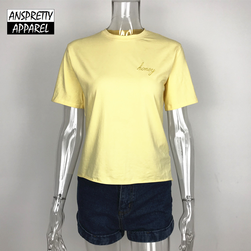 752a20586c6 Anspretty Apparel Embroidery letters t shirt women casual yellow tee short  sleeve 2018 summer fashion tops