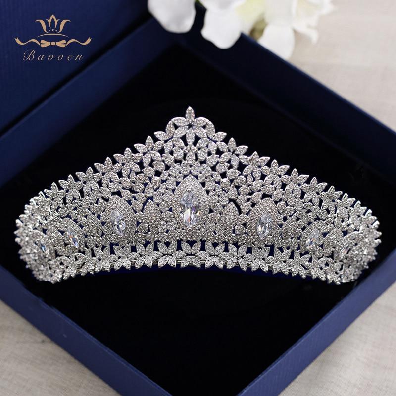 European Royal Oversize Silver Tiaras Crowns Gifts for Brides Full Zircon Wedding Hairbands Crystal Wedding Hair