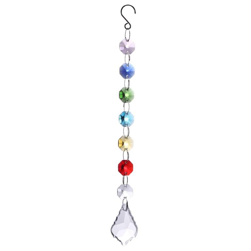Colorful Chakra Crystal Sun Catchers Chandelier Crystals Ball Prism Pendant Rainbow Maker Hanging Chakra Cascade Suncatcher