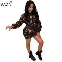 VAZN Women 2018 Hot Fashion Casual Dress Full Sleeve Mini Bandage Dress Novelty Camouflage Dress K8538