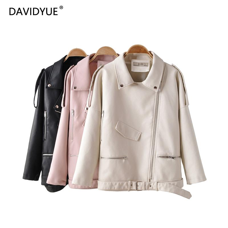 Pink   leather   jacket women long sleeve sashes zipper white coat turn down collar black PU biker jacket modis fashion clothes