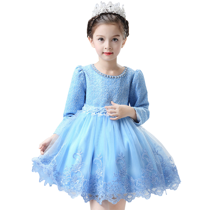 Autumn Winter Flower Dresses For Baby Girl Gown Birthday Outfits Long Sleeve Children Wedding Dresses Girl Kids Party Clothes 2017 mint high low flower girl dress for wedding with long train crystals ball gown kids 1st birthday party outfits baby dresses
