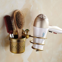 Bathroom Shelves Hair Dryer Holder Wall Mounted Antique Brass Nail Cliper Comb Storage Shelf Bathroom Hardware SSL-S23