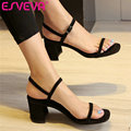 ESVEVA  2017 black Orange Summer Party Sandals Square High Heel Sandals Genuine Leather Shoes Woman Wedding Shoes Size 34-39