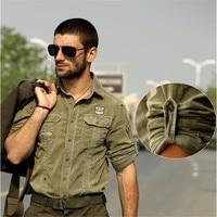 High Quality Spring Autumn Men Long Sleeve Cotton Shirt Army Corduroy Leisure Shirt Military Thick Cargo
