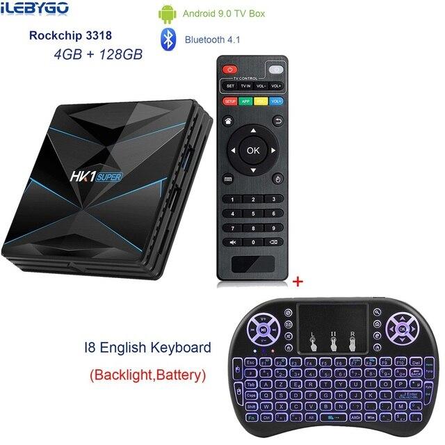 HK1 סופר אנדרואיד 9.0 טלוויזיה תיבת Rockchip RK3318 4 GB RAM 128G ROM USB 3.0 2.4G/5G הכפול WIFI BT4.0 HDR 4 K 3D סט Top Box Media Player