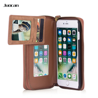 Juocan Fine PU Leather Dismountable Wallet Phone Case For Iphone With Card Holder Mirror Four Colors