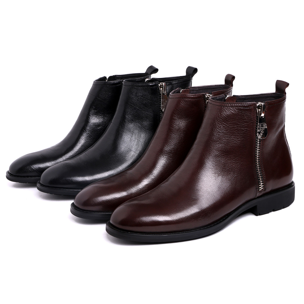 Black /brown tan autumn zipper mens ankle boots genuine leather formal wedding boots mens boots