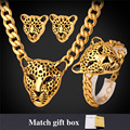 Leopard Head Choker Necklace Bracelet Earrings Set For Women Vintage Jewelry Trendy Gold Plated Jewelry Set NEH727